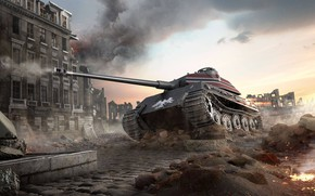 Картинка Город, Тигр, Дым, Германия, Огонь, Руины, Танк, Tiger, Tank, Deutschland, WoT, World of Tanks, Adler, …