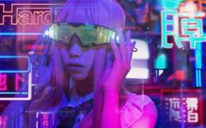 Картинка девушка, лицо, стиль, фон, очки