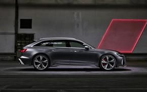 Картинка Audi, универсал, в профиль, RS 6, 2020, 2019, тёмно-серый, V8 Twin-Turbo, RS6 Avant