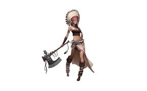 Картинка Art, Tomahawk, Minimalism, Characters, Indian Girl, CHOI kwangsoon