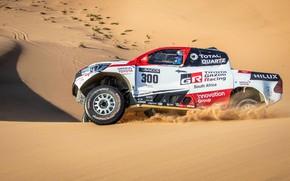 Картинка песок, пустыня, Toyota, пикап, Hilux, 2019, Gazoo Racing