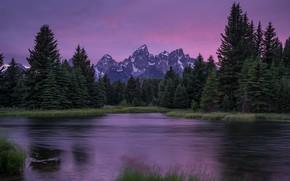 Картинка лес, небо, трава, облака, пейзаж, закат, горы, природа, озеро, река, сиреневый, берег, течение, вершины, красота, …