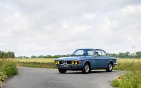 Картинка Поле, Дорога, BMW, Колеса, 1971, Фары, Classic car, BMW 3.0 CSi (E9)