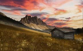 Картинка закат, горы, дом