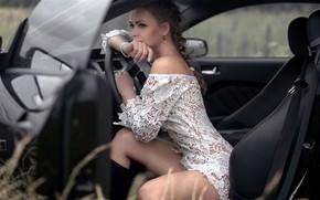 Картинка car, girl, long hair, legs, photo, photographer, model, braid, lips, face, brunette, sitting, portrait, mouth, …