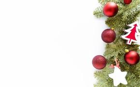 Картинка зима, звезды, шарики, праздник, шары, Рождество, красные, белый фон, Новый год, ёлочка, хвоя, ёлочные игрушки, …