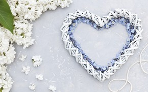 Картинка цветы, сердце, белая, love, white, heart, flowers, сирень, romantic, незабудки, spring, lilac, floral