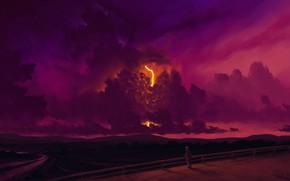 Картинка twilight, river, sky, lightning, sunset, art, clouds, evening, people, artist, digital art, artwork, person, BisBiswas