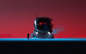 Картинка Человек, Силуэт, Transport & Vehicles, EVO series, by Cosmin Rosu, Fantasy, Cosmin Rosu, Science Fiction, …