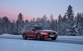 Картинка зима, дорога, car, снег, деревья, дизайн, Volvo, road, trees, design, sunset, winter, snow, бордовый, Volvo …
