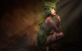 Обои азиатка, темнота, ноги, нимфа, оформление, растения, фон, свет, лучи, руки, темный фон, поза, рога, на ...