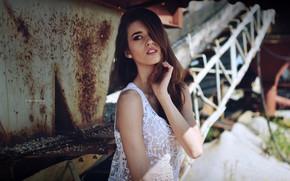 Картинка поза, модель, портрет, макияж, прическа, шатенка, красотка, в белом, Natalia, Natalia Szałagan, Marcin Mędrecki