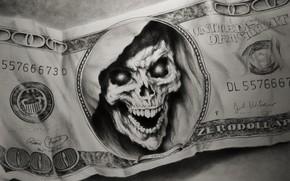 Картинка череп, деньги, банкнота