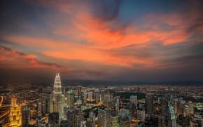 Картинка небо, город, зарево, Малайзия, Куала-Лумпур