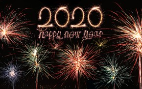 Картинка ночь, огни, салют, colorful, Новый Год, happy, night, New Year, fireworks, 2020