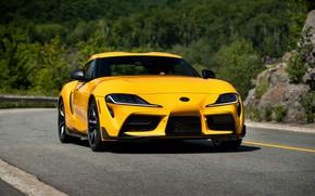 Картинка жёлтый, купе, Toyota, Supra, пятое поколение, на дороге, mk5, двухместное, 2020, GR Supra, A90, Gazoo …