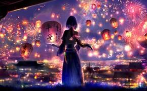 Картинка девушка, ночь, город, фонарики