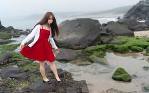 Картинка девушка, камни, платье