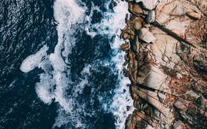 Картинка море, волны, пейзаж, природа, камни, берег, waves, sea, landscape, coast, nature, stones
