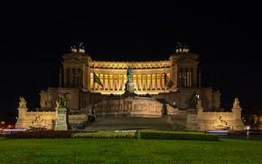 Картинка ночь, огни, Рим, Италия, площадь Венеции, Витториано