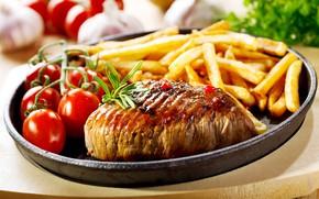 Картинка макро, мясо, помидоры, картофель