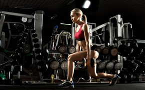 Картинка saloon, exercise, sports, sexy blonde, workout, fitness, sexy body, pantie, crossfit, sportswear, kettlebell, leg exercises, …