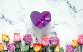 Картинка фон, подарок, сердце, розы, букет, красивые