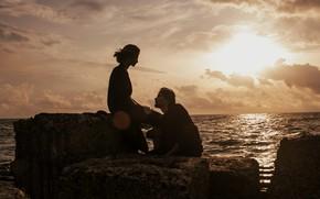 Картинка море, девушка, мужчина, влюбленные, Marta Syrko