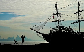 Обои корабль, Англия, силуэт, порт, Уолласи