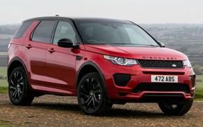 Картинка машина, небо, природа, земля, внедорожник, red, Land Rover, красная, Land Rover Discovery, Land Rover Discovery …