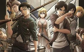Картинка парни, персонажи, Shingeki No Kyojin, Атака титанов