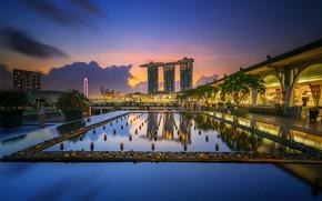 Картинка огни, панорама, Азия, Сингапур