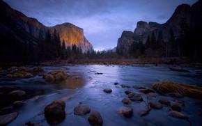 Картинка лес, пейзаж, горы, природа, камни, утро, долина, США, Йосемити, водоём, заповедник, Йосеми́тская долина, Йосемитский национальный …