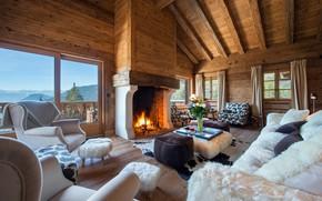 Картинка интерьер, Швейцария, Альпы, камин, гостиная, Swissalps, Tesseln