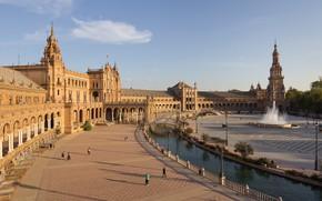 Картинка фонтан, Испания, дворец, Севилья