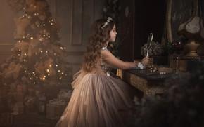 Картинка фото, елка, платье, зеркало, девочка, Новый год, Алина Мур