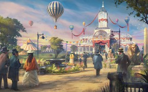 Картинка fantasy, trees, park, artwork, building, fantasy art, illustration, People, fountain, crowds, victorian, hot air balloon, …