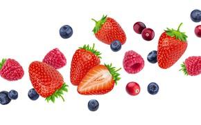 Картинка белый, ягоды, фон, черника, клубника