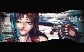 Картинка Black Lagoon, Revy, girl, gun, weapon, anime, artwork, black background, anime girl