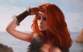 Картинка море, взгляд, девушка, рыжая
