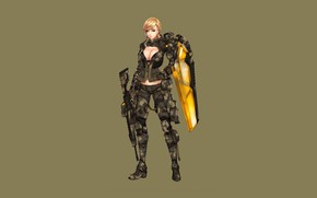 Картинка Girl, Gun, Sexy, Art, Minimalism, Characters, Ren Wei Pan, Shield dragon EX