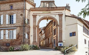 Картинка Франция, дома, ворота, городок, средневековая архитектура, Verfeil, Haute-Garonne, La porte toulousaine, Верхня Гаронна, Верфей