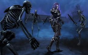 Картинка девушка, скелеты, нежить
