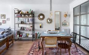 Картинка интерьер, гостиная, столовая, NONAGON style, eclectic living-dining, mismatched chairs
