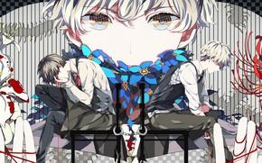 Картинка взгляд, кровь, парень, Tokyo Ghoul, Токийский гуль, Канеки Кен