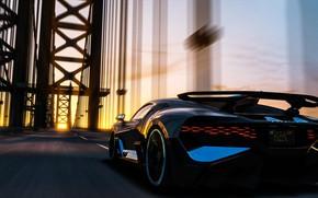 Картинка закат, рендеринг, Bugatti, суперкар, 2018, гиперкар, Divo