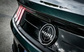 Картинка Ford, эмблема, 2018, корма, V8, Mustang Bullitt, 5.0 л., 460 л.с., фастбэк