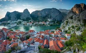 Картинка море, горы, природа, скалы, дома, крыши, залив, вид сверху, Хорватия, Omiš
