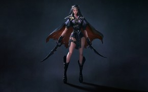 Картинка Girl, Art, Assassin, Style, Background, Minimalism, Cloak, Dagger, Daggers, DY 33, Melee Weapons