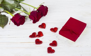 Картинка любовь, цветы, подарок, сердце, розы, red, love, romantic, hearts, valentine's day, roses, gift box